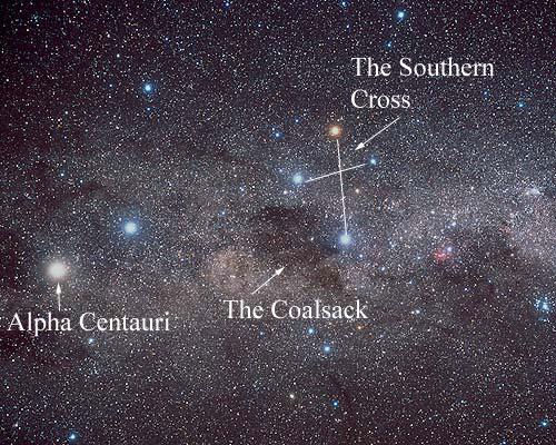Localização de Alfa Centauri em relação ao Cruzeiro do Sul (The Southern Cross) e a nebulosa Saco de Carvão (The Coalsack): Crédito©: Akira Fujii / David Malin Images