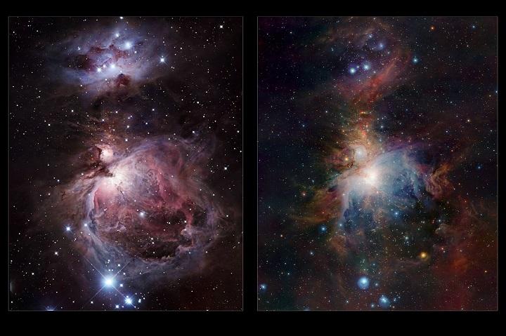 Comparação visível (à esquerda, imagem capturada por Robert Gendler) e infravermelho (à direita, pelo VISTA) da imagem completa da Nebulosa de Órion. Crédito: ESO/J. Emerson/VISTA & R. Gendler/Cambridge Astronomical Survey Unit