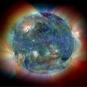 Visão do Sol em ultravioleta. Crédito: SOHO