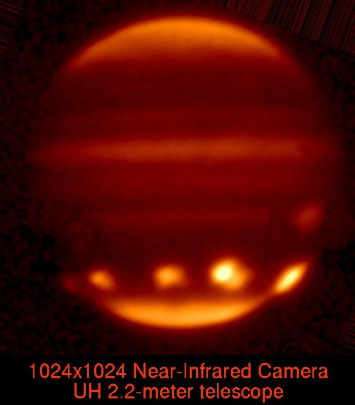 Visão do impacto dos fragmentos do cometa SL9 em Júpiter. Crédito: Institute for Astronomy HAWAII