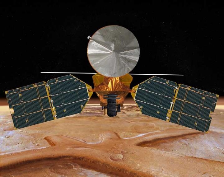 A sonda robótica Mars Reconnaissance Orbiter iniciou suas operações entrando na órbita de Marte em 10 de março de 2006, há 8 anos.