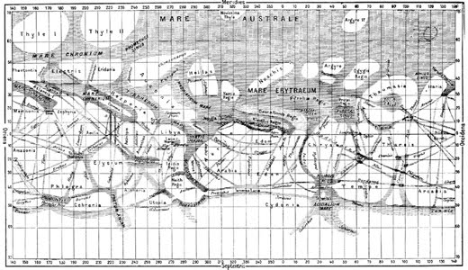 Mapa de Marte segundo Schiaparelli