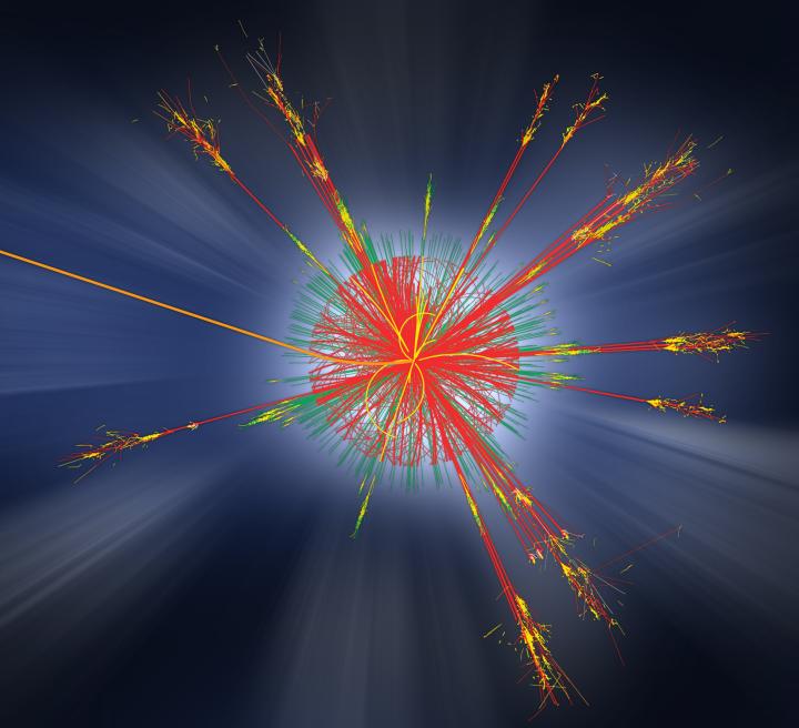 Produção simulada de um buraco negro no ATLAS. Esta figura é um exemplo de um modelo de dados simulados para o detector ATLAS no LHC. Esses feixes seriam produzidos se um buraco negro em miniatura for criado na colisão próton-próton. Tal micro buraco negro teria decaimento instantâneo em várias partículas através de um processo conhecido como 'radiação de Hawking'. Crédito: CERN