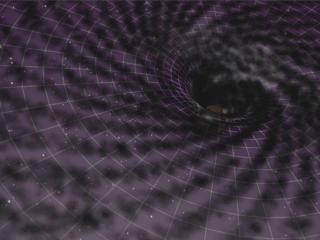 Distorção do espaco tempo por um buraco negro supermassivo no centro galáctico. Crédito: Felipe Esquivel Reed