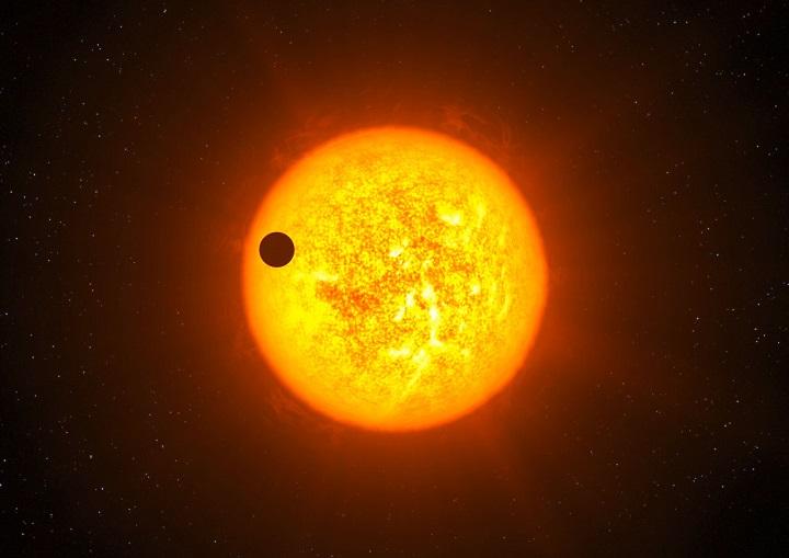 Ilustração do exoplaneta CoRoT-9b em trânsito. Crédito: ESO