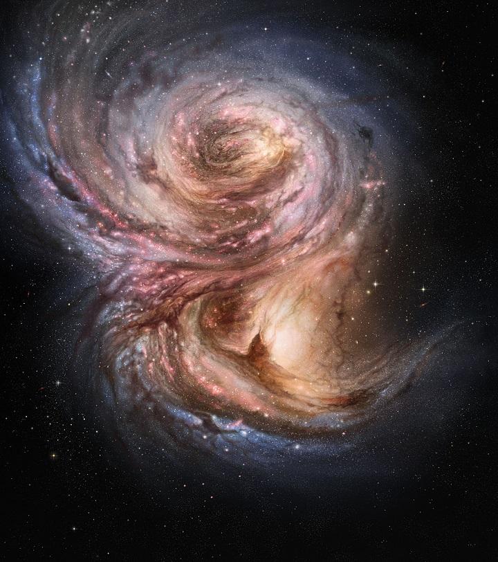 Esta impressão artística da galáxia longínqua SMM J2135-0102 mostra nebulosas brilhantes com centenas de anos-luz de tamanho, que são regiões de ativa formação estelar. Crédito:ESO/M. Kornmesser