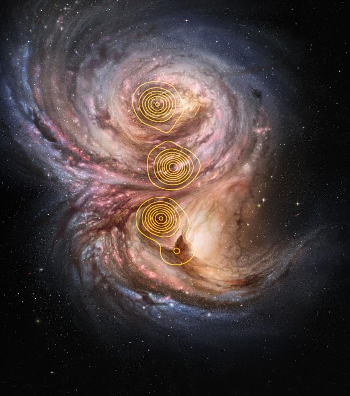 Nesta ilustração os contornos desenhados mostram a estrutura reconstruída a partir das observações via lente gravitacional com o APEX. Crédito: ESO/M. Kornmesser/M. Swinbank et al.