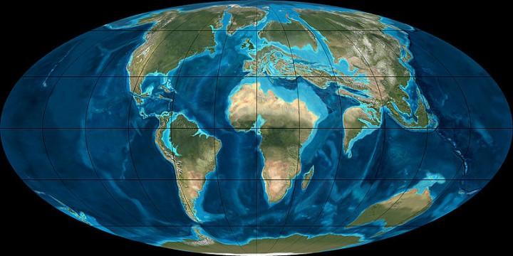 Distribuição dos continentes, mares e oceanos no Paleoceno-Eoceno, há 55 milhões de anos, quando ocorreu o 'máximo térmico'.