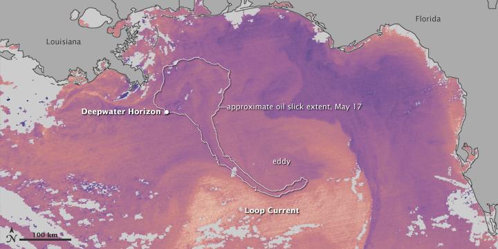A mancha de óleo se aproxima das correntes do Golfo do México e irá se alastrar