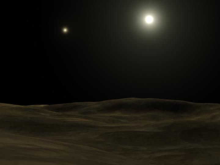 Exoplaneta orbitando Alfa Centauri A. A companheira Alfa Centauri B é a estrela mais tênue, à esquerda. Crédito: wikimedia commons