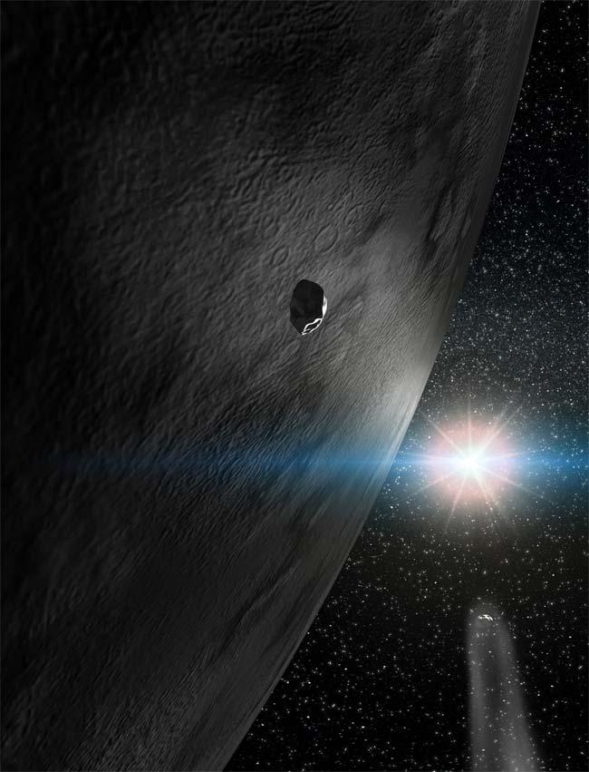 Visão artística do asteróide 24 Themis com seus dois fragmentos em órbita. Crédito: Gabriel Pérez, Servicio Multimedia, Instituto de Astrofisica de Canárias, Tenerife, Espanha