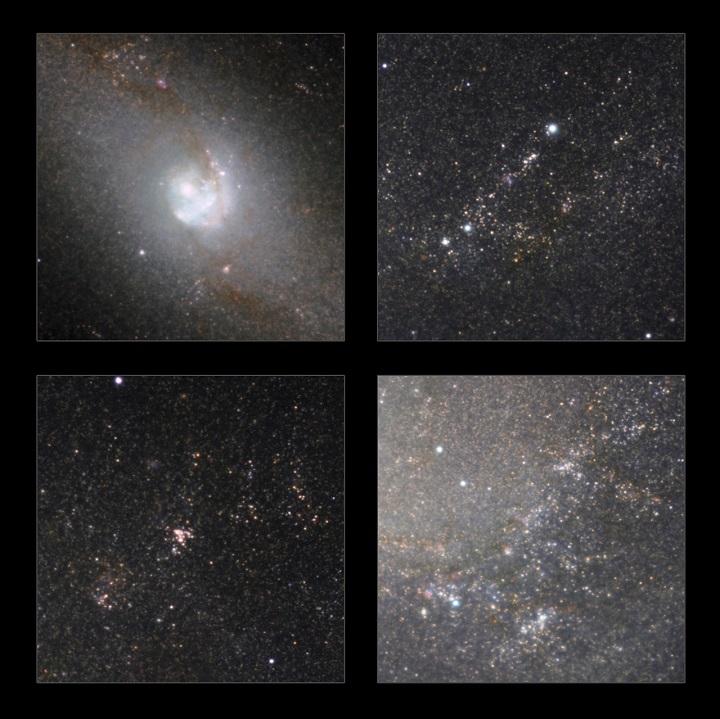 Alguns detalhes obtidas com a visão infravermelha da Messier 83 permitem observar um grande número de estrelas. A obsevação da radiação infravermelha permite penetar no véu de gás e poeira que impede a observação direta das estrelas no espectro da luz visível dos telescópios convencionais. Crédito:ESO/M. Gieles / Mischa Schirmer