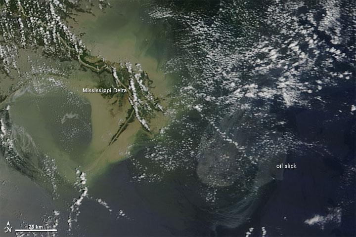NASA Terra - o derrame e o Delta do Mississipi pelo dispositivo MODIS em 22 de maio de 2010