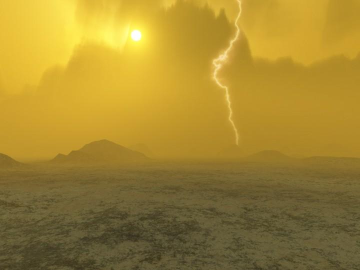 Impressão artística de relâmpagos em Vênus. Crédito: ESA