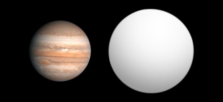 Comparação dos tamanhos de Júpiter e HD 209458 b