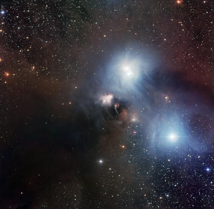 Região formadora de estrelas em volta da estrela R Coronae Australis. Crédito: ESO/La Silla