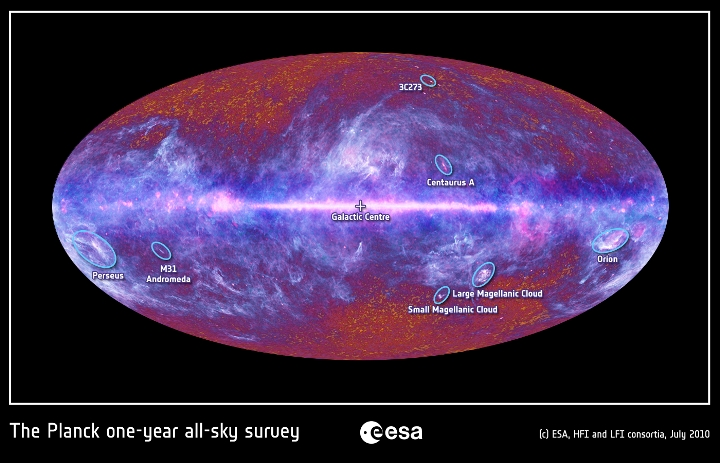 Fontes galácticas e extragaláticas mapeadas pelo Planck