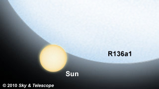Comparação R136a1 e o Sol, 35 vezes o diâmetro e 265 vezes a massa. Crédito: S&T: Gregg Dinderman