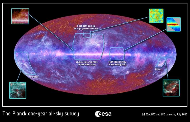 Regiões já estudadas em detalhes pelo Planck