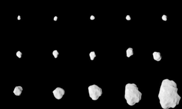 Composição de 15 imagens capturadas pelo dispositivo ótico OSIRIS, a bordo da sonda Rosetta, durante a sua aproximação do asteróide 21 Lutetia.