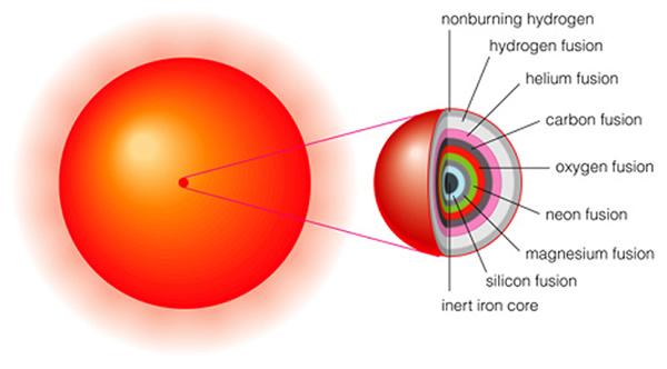 Camadas de uma estrela massiva prestes a tornar-se uma supernova. Cada camada está processando a nucleossíntese, exceto o núcleo de Ferro que permanece estável crescendo até atingir a massa limite de Chandrasekhar.