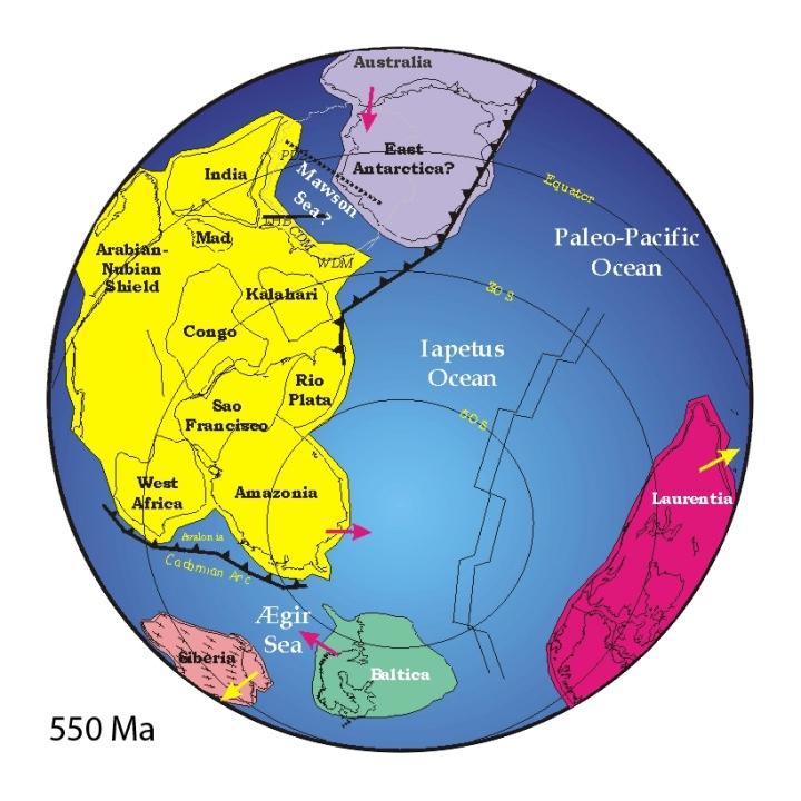 Mapa da Terra há 550 milhões de anos mostra a formação de Gondwana