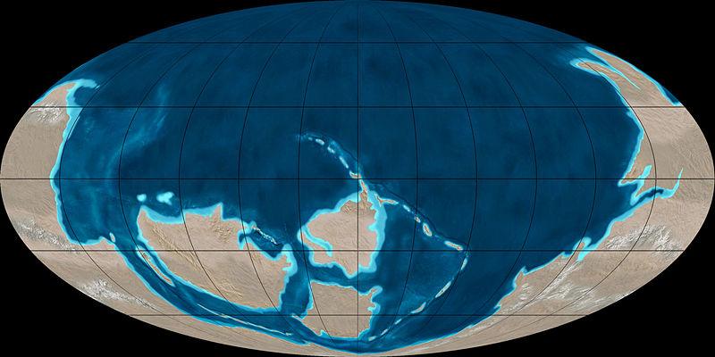 Mapa da Terra no início do Cambriano: o continente maior do Sul é a Gondwana. O segundo em tamanho, à esquerda, é a Laurentia (a parte central da América do Norte), os dois menores são a Báltica, no centro ao sul (parte da Europa) e a Sibéria, no centro ao norte (mesma região no oeste russo)