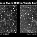 Esta imagem de 10 de março de 2010 foi feita por astrônomos amadores japoneses que descobriram a nova Cygni 2010. A estrela em erupção se apresenta 10 vezes mais brilhante que sua imagem obtida vários dias antes. A nova alcançou um brilho máximo de magnitude 6,9, ligeiramente abaixo da visibilidade a olho nu (magnitude entre 5,5 e 6). Crédito: K. Nishiyama e F. Kabashima/H. Maehara, Universidade de Quioto