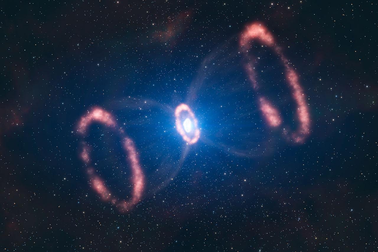 Impressão artística da modelagem em 3D da SN 1987A, Crédito: ESO/L. Calçada