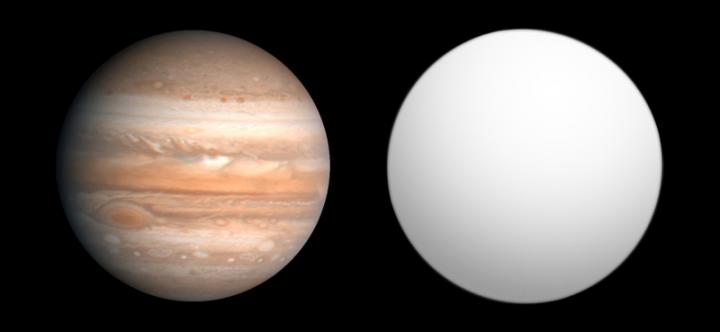 Comparação do tamanho de Júpiter com o de CoRoT 3b. Com 22 vezes a massa de Júpiter praticamente o mesmo tamanho, o que é CoRoT 3b? Uma anã marrom? Um planeta joviano ultra denso?
