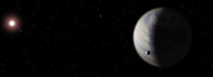 Impressão artística da 'Super-Terra' Gliese 581 d, que reside a 20,3 anos-luz da Terra na direção da constelação de Libra.