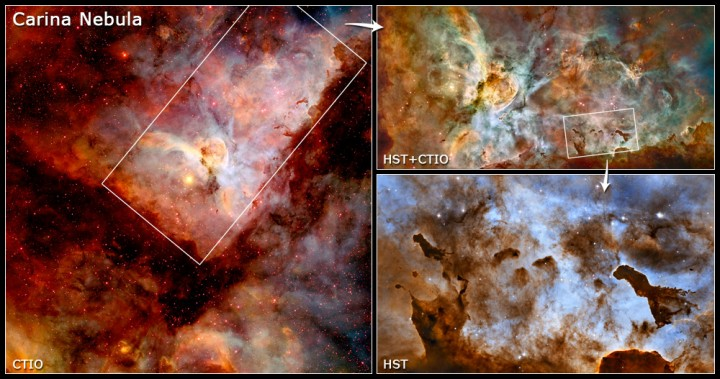 Zoom na Grande Nebulosa de Carina. Créditos: NASA, ESA, and L. Frattare (STScI)