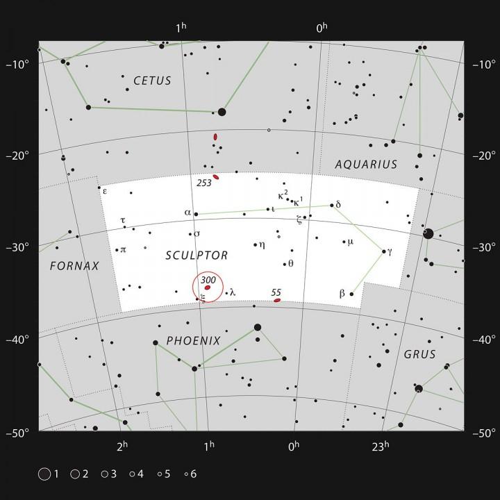 A constelação do Escultor e a NGC 300
