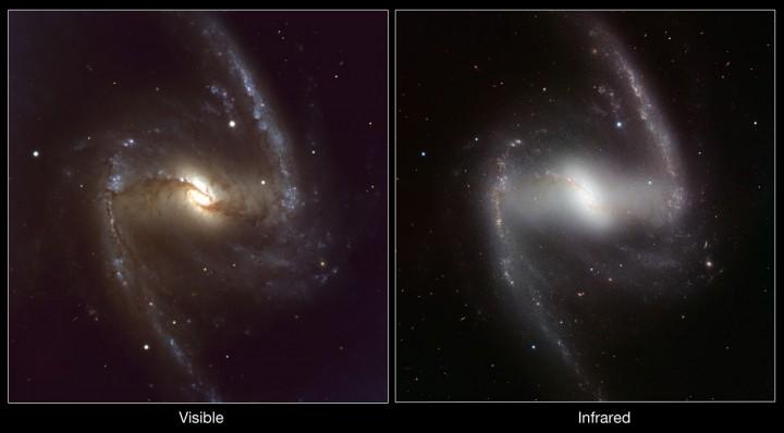 Comparação das imagens feitas pelo VLT do ESO com a NGC 1365 no visível (câmera FORS1) e no infravermelho (câmera HAWK-I, à direita). Crédito: ESO/P. Grosbøl