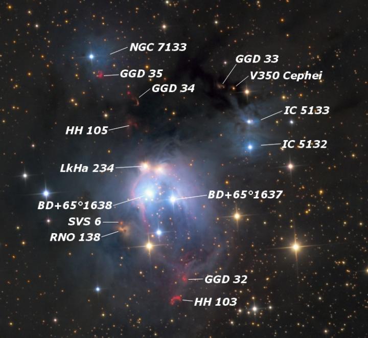 Os principais objetos cósmicos da NGC 7129. Crédito: Sakib Rasool