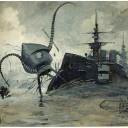 Desenho do artista brasileiro Henrique Alvim Corrêa para uma edição belga de A Guerra dos Mundos de H. G. Wells, que mostra uma máquina de guerra marciana lutando contra o destróier Thunder-Child. Crédito: Henrique Alvim Correa (1876–1910)