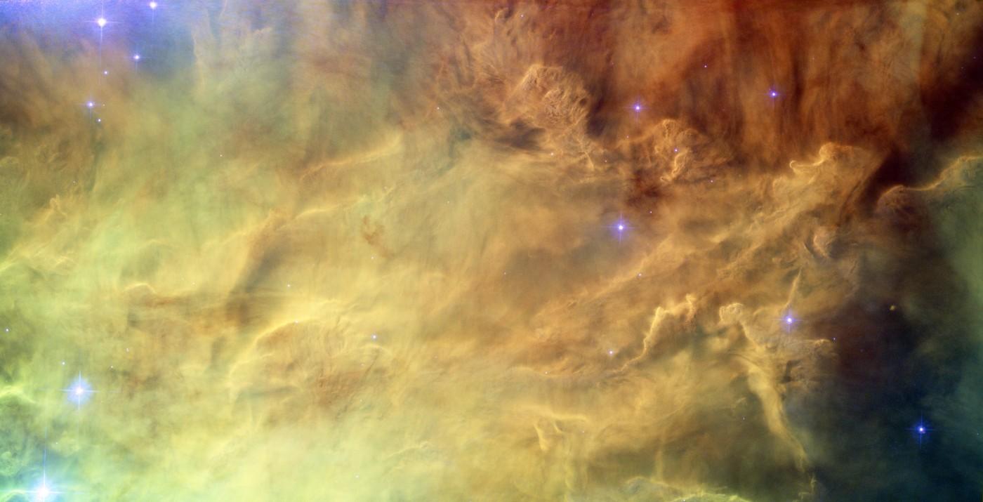 A Nebulosa da Lagoa (M8) capturada pelo Hubble. Clique na imagem para acessar a versão em alta resolução. Créditos: NASA/ESA/Hubble