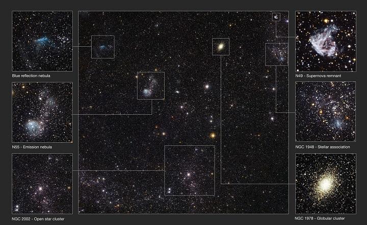Detalhes da Grande Nuvem de Magalhães revelados pela câmera WFI do observatório de La Silla, no Chile. Crédito: ESO/La Silla