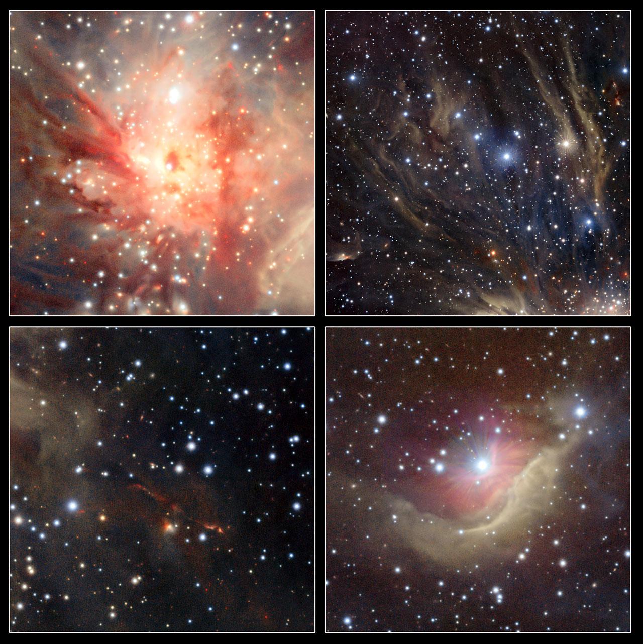 Este painel mostra detalhes da região de formação estelar Monoceros R2 capturados pelo VISTA. Créditos: ESO/J. Emerson/VISTA/Cambridge Astronomical Survey Unit