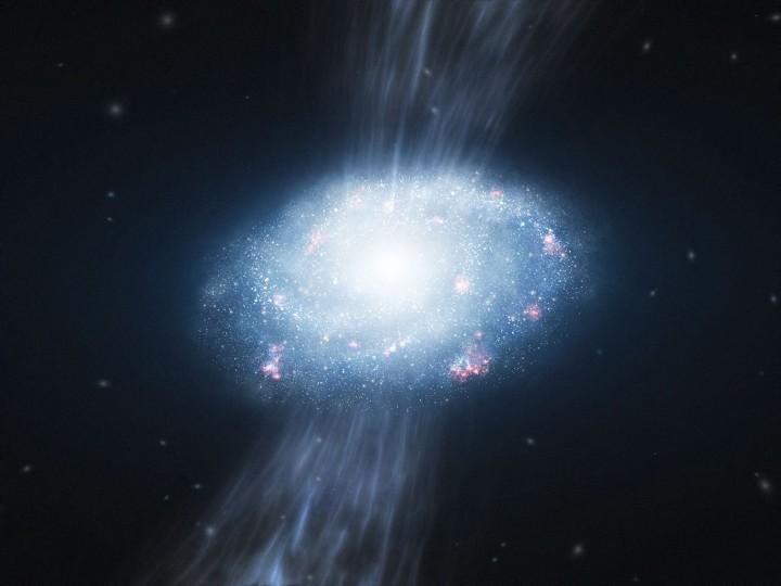 Esta impressão artística mostra uma galáxia jovem, cerca de 2 bilhões de anos após o Big Bang, sofrendo acresção dos gases Hidrogênio e Hélio das vizinhanças, matéria prima para a formação de novas estrelas. Estudos usando o VLT (Very Large Telescope) do ESO mostraram evidências de que a acresção do gás cósmico, sem necessidade de violentas fusões galácticas, já é suficiente para alimentar um vigoroso nascimento de estrelas e o crescimento de galáxias massivas no Universo primordial. Crédito: ESO/L. Calçada