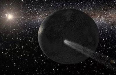 Impressão artística de um asteróide passando próximo de um objeto planetário. Crédito: Gabriel Pérez, Instituto de Astrofisica de Canárias, Espanha
