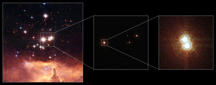 Como Hubble resolveu o Sistema Pismis 24-1? Crédito: NASA/ESA/Hubble