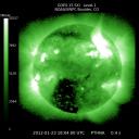 A sonda GOES-15, operada pela NOAA, capturou esta imagem em raios-X de uma gigantesca tempestade solar a 23 de Janeiro de 2012. Crédito: NOAA