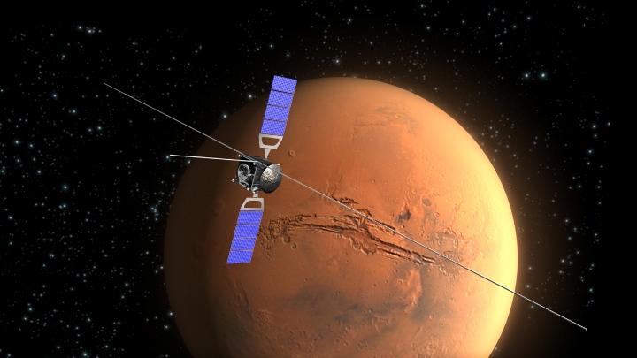 Ilustração mostra a sonda orbital Mars Express da Agência Espacial Européia (ESA)