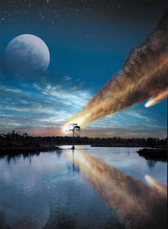 Um choque da Terra com um enxame de pedaços de um cometa foi responsável pela extinção há 12.900 anos ? Uma chuva de pedaços de um grande cometa foi responsável pela extinção há 12.900 anos? Crédito: USGS