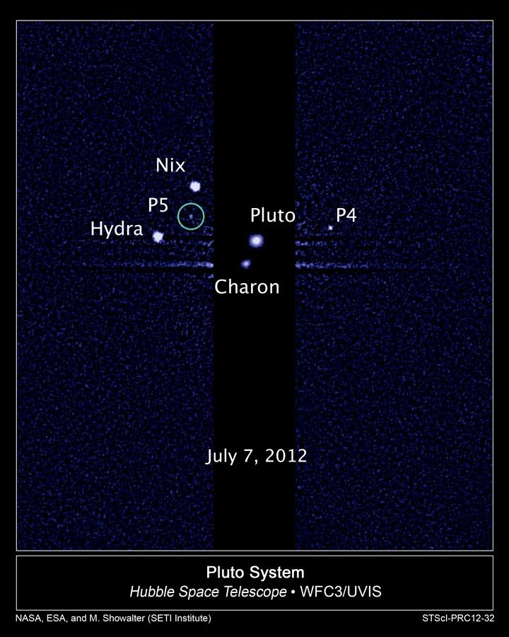 Plutão Caronte e lua P5 pelo Hubble