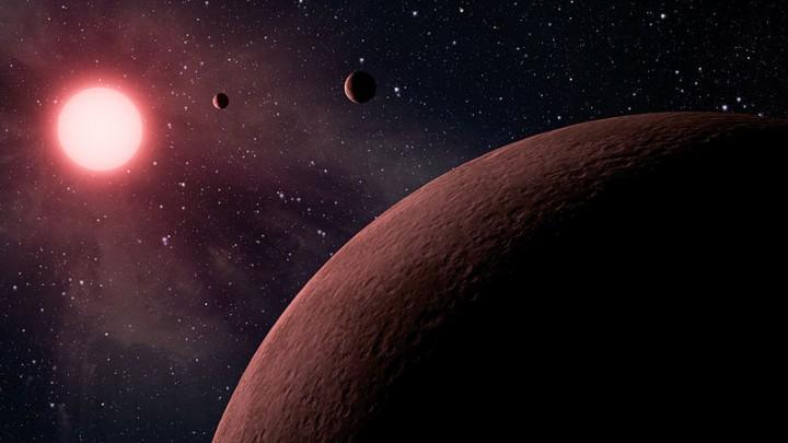 Os exoplanetas da anã vermelha Kepler 42 (KOI 961). Crédto: NASA