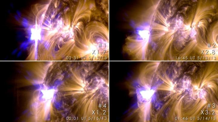 um grupo de manchas solares etiquetados região ativa AR1748 produziu os primeiros quatro explosões solares de classe X de 2013, em menos de 48 horas. Na seqüência do tempo no sentido horário a partir do canto superior esquerdo, flashes dos quatro foram capturados em imagens ultravioleta extremo do Solar Dynamics Observatory. Classificados de acordo com o seu brilho máximo em raios-X, flares de classe X são a classe mais poderosa e são frequentemente acompanhadas por ejeções de massa coronal (CMEs), nuvens enormes de plasma de alta energia lançada ao espaço. Crédito: NASA/Solar Dynamics Observatory maio de 2013