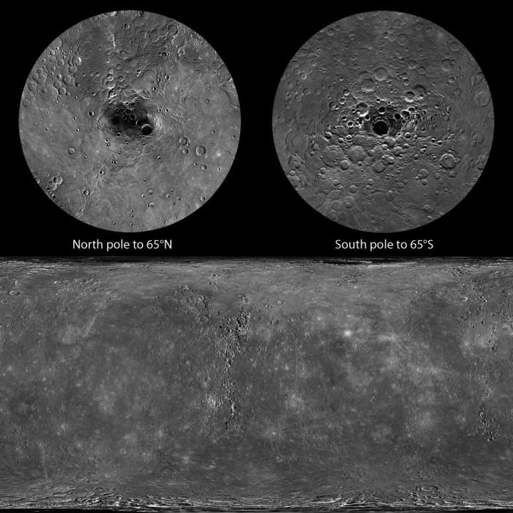 Mapa com 100% da superfície de Mercúrio fornecido pela sonda Messenger. Crédito: NASA