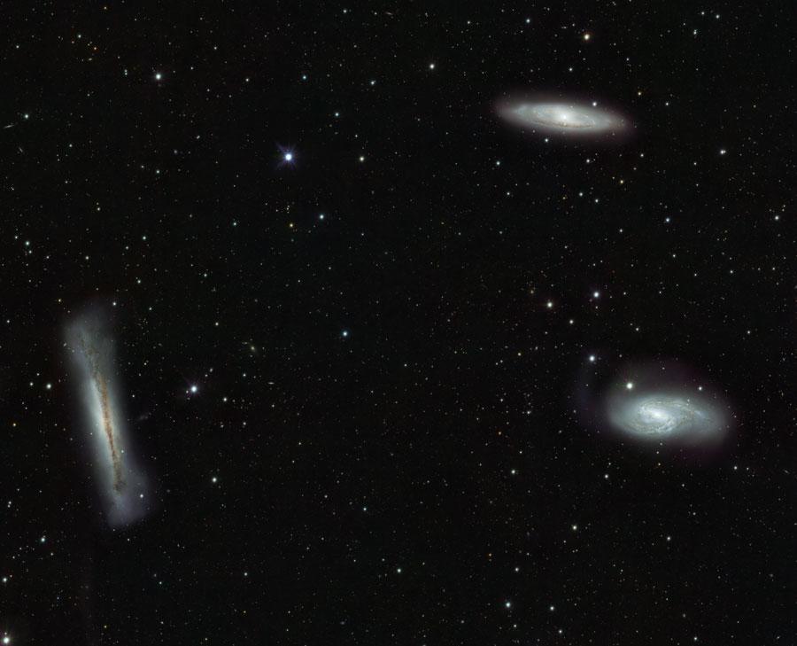 Galáxias que compõem o Trio do Leão, pelo VST Créditos: ESO, INAF-VST, OmegaCAM;, OmegaCen, Astro-WISE, Kapteyn I.